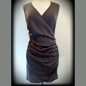 Andrew Marc NY Ruched Shiny Bronze Metal Dress